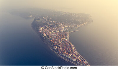 Bird's eye view of mediterranean coastal town.