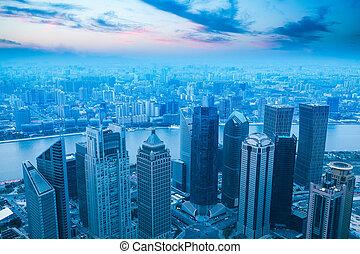 bird's eye view of modern city in shanghai at dusk, China