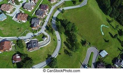 Bird's eye view of modern mountain village