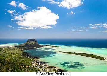 Bird's eye view of Mount Le Morne Brabant on the island of Mauritius