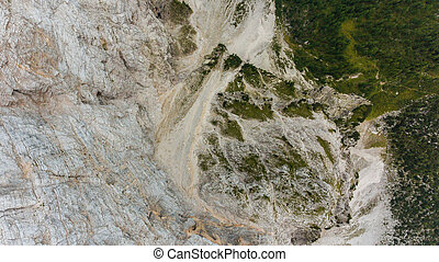 Bird's eye view of mountain ridge leading into deep gap.
