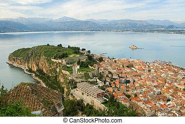 Bird's-eye view of Nafplion center, a greek town at Peloponnese peninsula. Photo taken from the Palamidi castle