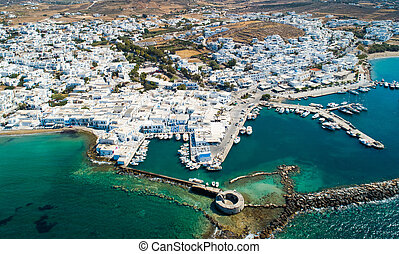 Bird's eye view of Naoussa city, Greece