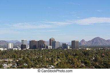 Birds eye view of Phoenix valley, AZ - Arizona capital city ...