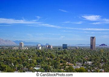 Birds eye view of Phoenix valley, AZ - Arizona capital city...