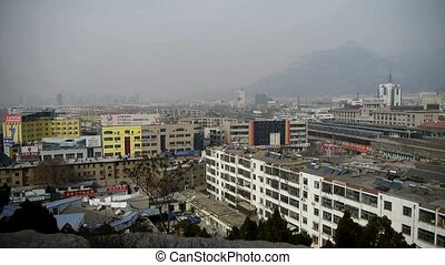 bird's eye view of railway station of Tai'an city in...