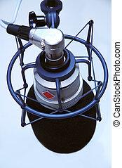 birds eye view of studio microphone - modern studio ...