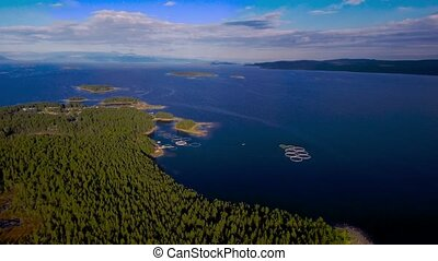 Bird's-eye view of the bay and islands in the White Sea. The...