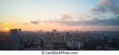 bird's eye view of the city at sunrise - city of Kiev from a...