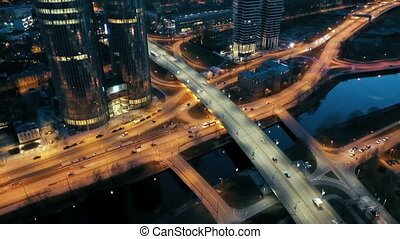 Bird's-eye view of the city that is captured with a drone