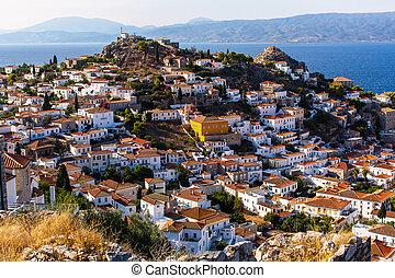 Bird's eye view of the houses on Hydra island, Greece.