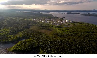 Bird's-eye view of the Russian tank farm on the White Sea....