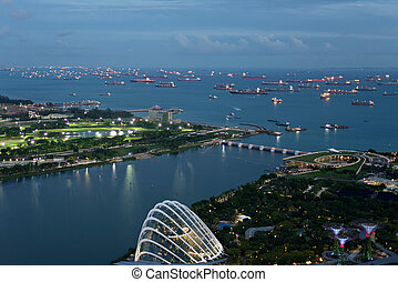 Birds eye view of the Singapore Straight