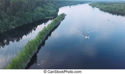 Bird\'s-eye view of the Svir river, from Ladoga to Onega lake, Leningrad region, Russia.