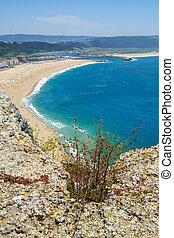 Bird's-eye view on Atlantic seashore near Nazare town. Portugal