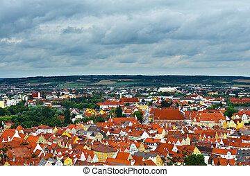 Bird's Eye View on the Bavarian Town of Landshut, Germany