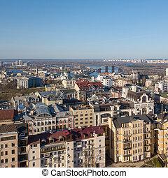 bird's-eye view on the modern buildings in the city Kiev Ukraine