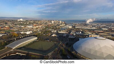 Birds Eye View Tacoma Washington Puget Sound - Car move...
