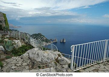 Birds Eye View - View from Mount Solaro, isle of Capri, ...