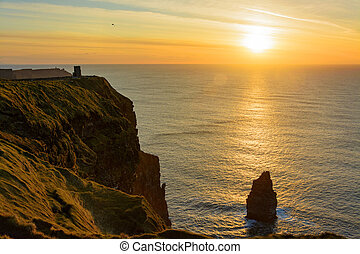 birds eye views from the cliffs of moher in county clare...