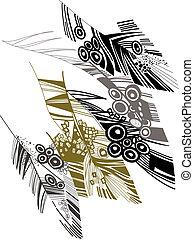 bird's feather color sketch