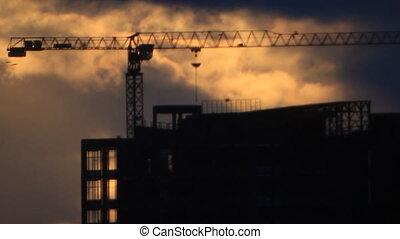 Birds flight over building site