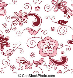 Birds Floral Seamless Pattern