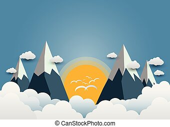 Birds fly to the sun and beautiful mountains with beautiful clouds. paper art