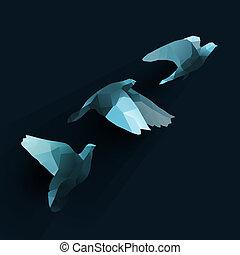 birds fly tree blue