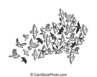 Birds flying in form of arrow symbol engraving vector...