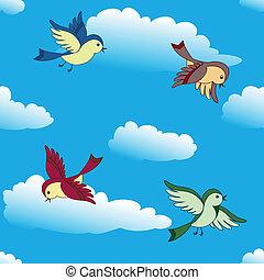 birds flying in sky - Vector birds flying in blue sky...