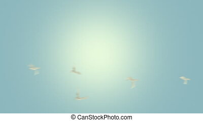 Looping animation of a flock of birds flying. An alpha matte is included.