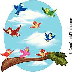 Birds flying on sky