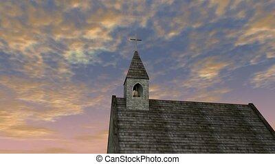 Birds flying over church steeple