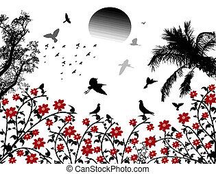 Birds flying over red flowers