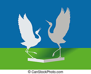 Birds from a paper. Dance of love