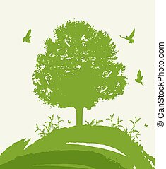 birds., groen boom