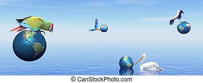 Birds having fun with earth