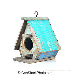 Bird's house made from wood in vintage style isolated on white.