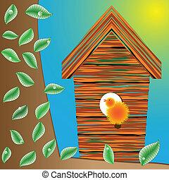 birds house on a tree