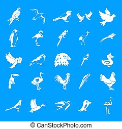 Birds icon blue set