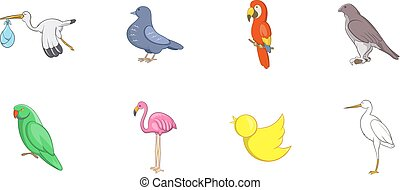 Birds icon set, cartoon style