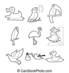 Birds icon set, outline style