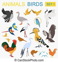 Birds icon set. Vector flat style. Vector illustration