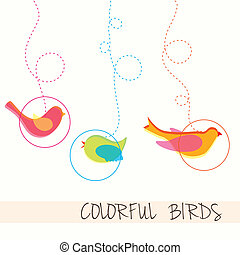 Birds icons background of dots vector illustration