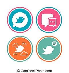 Birds icons. Social media speech bubble.