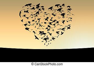Birds - Illustration of flight of birds in the sky in the ...