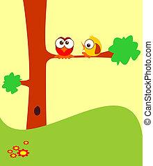 Birds - Two cartoon birds on a tree.