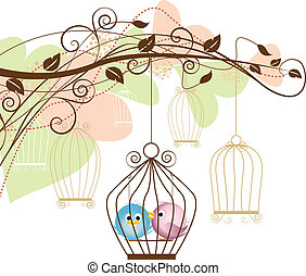 birds in a cage - decorative branches with a birds in a cage