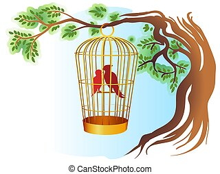 Birds in a cage on a tree illustration